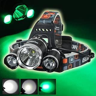 Boruit 3Pcs Led Bulbs Cree T6+2R5 Headlamp 3000LM Rechargeable White+Green Lighting Hunting Fishing Night Light Headlight 2Pcs 18650+Charger