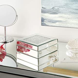 MIREO Mirrored Jewelry Box for Cosmetic Makeup Storage with Black Suede Decoration Cabinet Storage Chest from Furniture