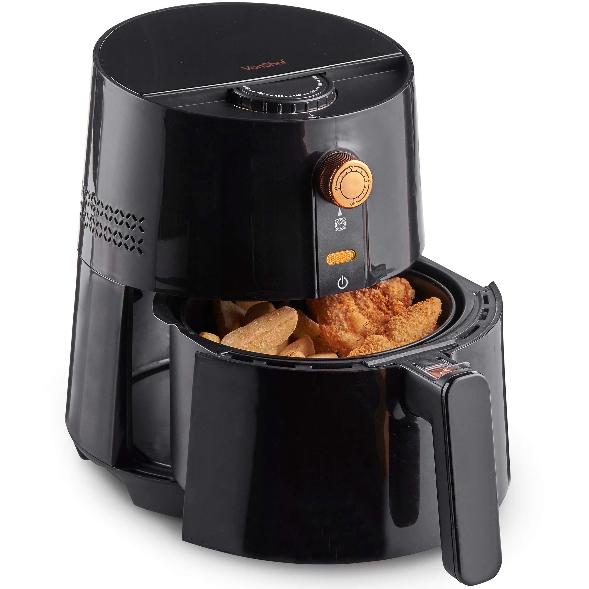 VonShef Freidora sin Aceite de Aire Caliente 2,5 L y 1300 W – Cocina Bajo en Grasa y Saludable, Control de Temperatura Ajustable: Amazon.es: Hogar
