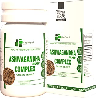 Ashwagandha Plus Complex, by VitaPharm Nutrition, All Natural 1300MG, Black Pepper for Fast Absorption, A+ Grade Root Powd...