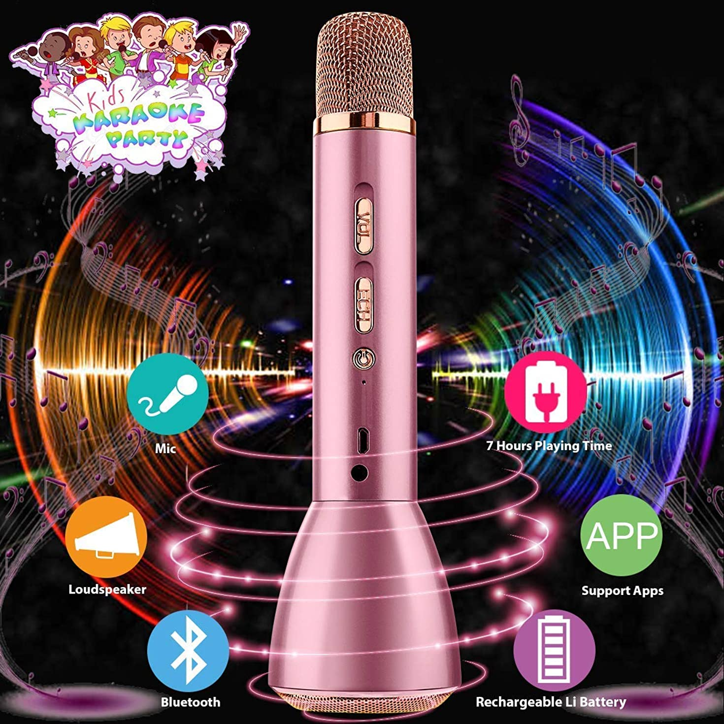 Wireless Kids Karaoke Microphone with Speaker, Portable Bluetooth Microphone Echo Child Karaoke Mic Machine for Kids Boys Girls Adult Singing Party Music Playing Support Android iOS Smartphone(Pink)