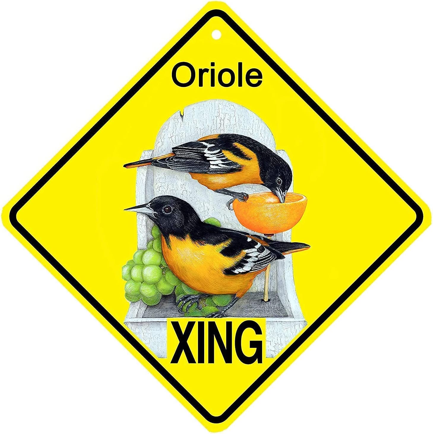 kegill Metal Tin Signs Baltimore Oriole Bird Xing Crossing Sign Wall Decor Outdoor Wall Art Decorative Metal Sign Plaque for Indoor Outdoor