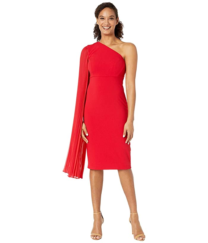 Tahari by ASL  One Shoulder Crepe Sheath Dress with Dramatic Pleated Fly Away Sleeve (Ruby) Womens Dress
