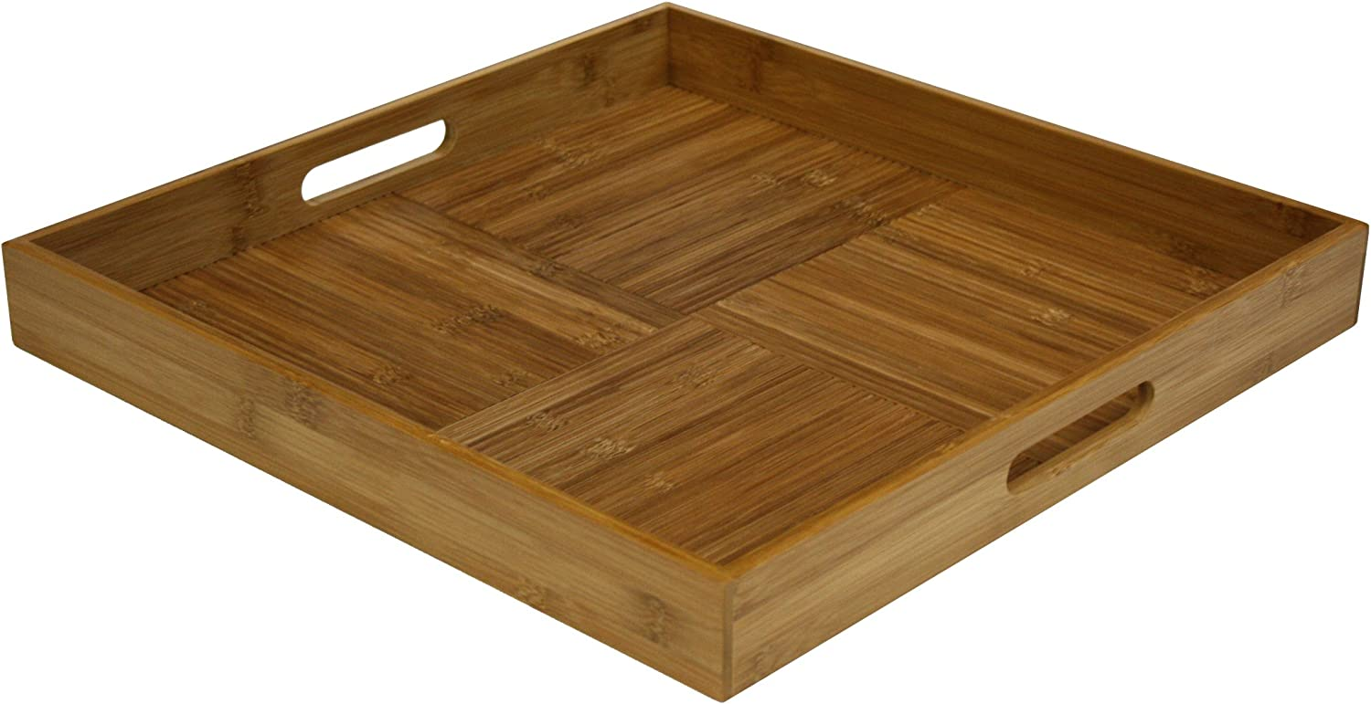 All items free shipping Luxury Simply Bamboo BTRS17 Square Wooden Tray Ottoman Serving with for