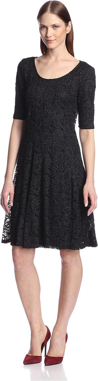 Chetta B Women's Glitter Lace Fit-and-Flare Dress