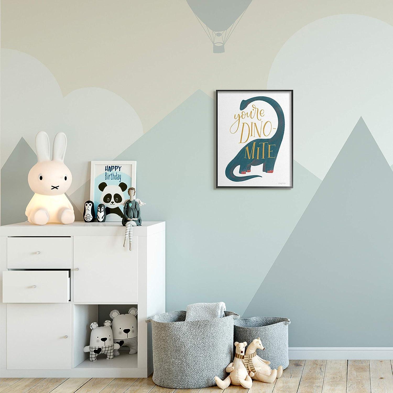 Stupell Industries Youre Dino-Mite Phrase Blue Long Neck Dinosaur Design by Becky Thorns Black Framed Wall Art White 16 x 20