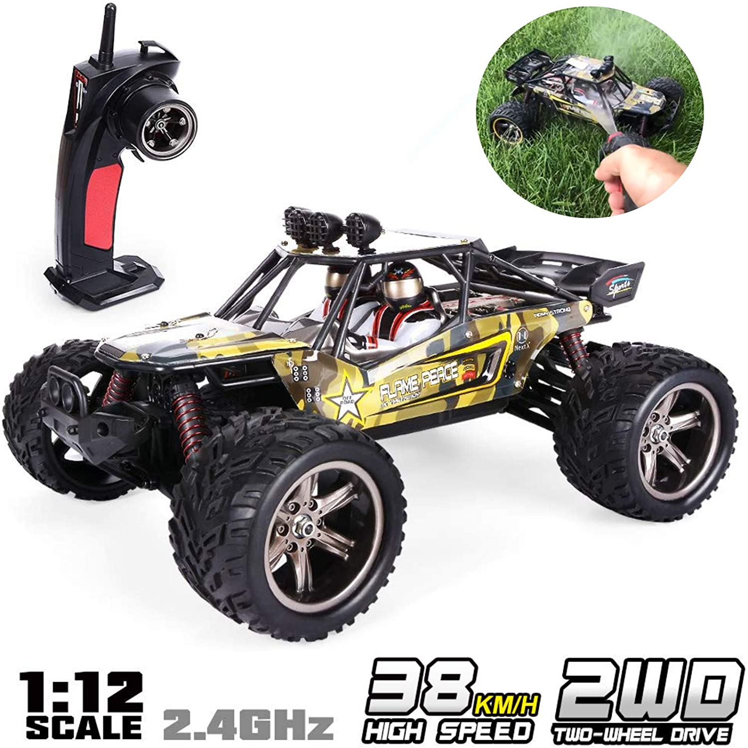 GPTOYS 1 12 Remote Control Off Road Truck Hobby Grade Army Green Monster Crawler S916