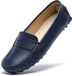 Artisure Womens Classic Genuine Leather Penny Loafers Driving Moccasins Casual Slip On Boat Shoes Fashion Comfort
