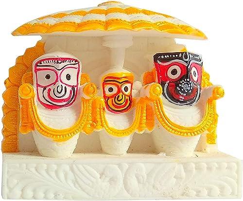 OMMSAI Traders Idols and Figurines of Lord Jagannath balaram and subhadra by for Car Dashboard | Idols for Gift | Hom...