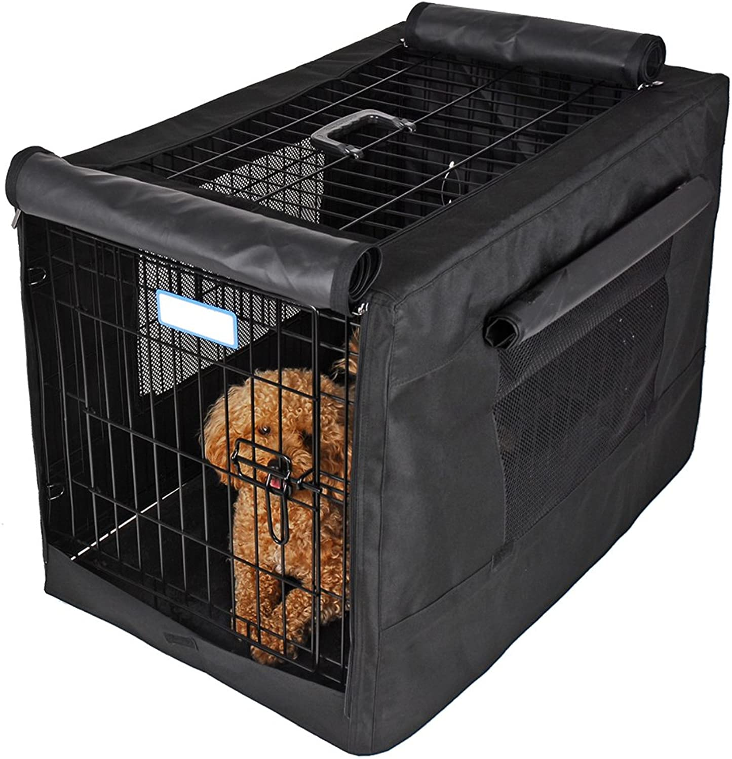 Petsfit Black Polyester Crate Cover for 30 Inches Wire Crates,Size 3000,One Door