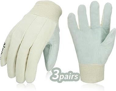 Vgo... 3Pairs Cotton and Cow Split Leather Work Gloves, Garden Gloves (Size L, Creamy White,CB2354)