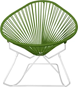 Innit Designs Acapulco Rocker, Olive Weave on White Frame