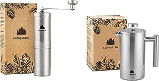 Groenenberg Spar-Pack 3 | Kaffekvarn manuell fransk press rostfritt stål 0,35 L | Handkaffekvarn | Kaffebryggare