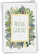 Muchas Gracias - Elegant Spanish Thank You Card with Envelope (4.63 x 6.75 Inch) - Beautiful Floral Watercolor Design, Gratitude Appreciation Card - Stationery Note Card C6649TYG-SL