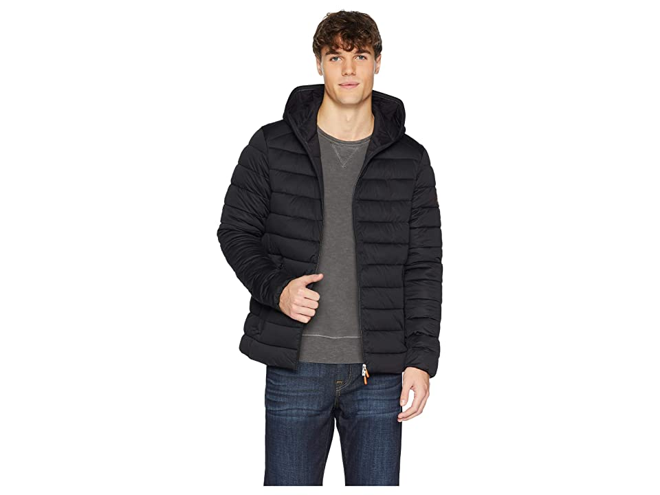 Save the Duck Black Hooded Stretch Coat (Black) Men