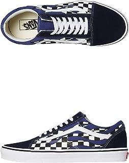 Old Skool Checker Flame Navy Blue White Skateboarding Shoes
