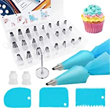 32Pcs Piping Bags And Tips Set 2 Reusable Silicone Pastry Bag 24 Stainless Steel Icing Tips 3 Icing Smoother 2 Couplers & ...
