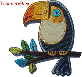 2 Iron On Embroidered Patches Applique Indian Chief 5x9 and Tucan 9x9cmcm - DIY for Fabric Sewing Clothing by TrickyBoo Design Zurich
