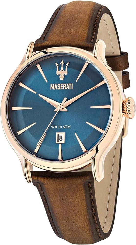 Maserati orologio da uomo, collezione epoca  in acciaio, pvd oro rosa e cuoio 8033288680925