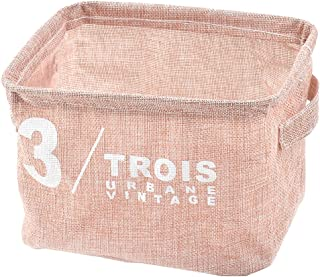 uxcell Fabric Household Makeup Sundries Storage Box Basket Closet Container Light Pink