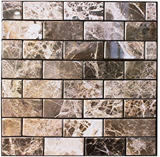 3D Square Marble Self Adhesive Indoor Backsplash Wall Tiles, Removable Easy Peel and Stick Durable Wall Panels for Kitchen/Bathroom/Living Room - 6 Tiles