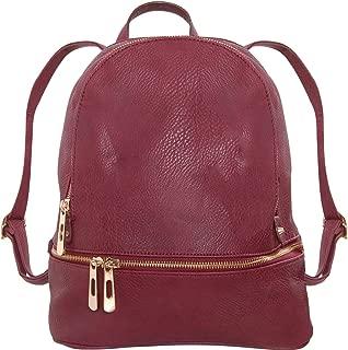 Humble Chic Vegan Leather Backpack Purse Small Fashion Travel School Bag Bookbag, Burgundy, Dark Red, Oxblood