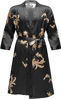 Oyolan Men's Dragon Printed Silk Satin Bathrobe Nightgown Kimono Robe with Short Pants Sleepwear