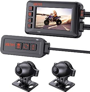"Motorcycle Camera Real Waterproof, Blueskysea XB701 1080P Front Rear Dash Cam with 3"" IPS Screen WiFi GPS G-Sensor Loop Recording Parking Monitoring Adjustable Brightness Compass 32GB Card"