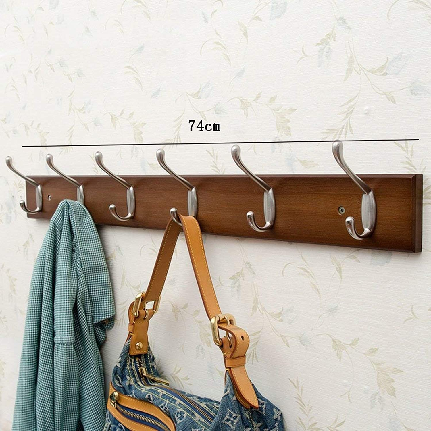 DYR Solid Wood Hook Up Coat Hook Walnut 3 Hooks 4 Hooks 5 Hooks 6 Hooks 7 Hooks 8 Hooks Stable and Durable (Size  6 Hooks)
