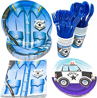 Blue Orchards Police Party Supplies Packs (113+ Pieces for 16 Guests!), Police Party Supplies