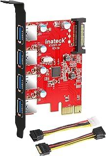 Inateck KTU3FR-4P - Tarjeta de 4 Puertos USB (PCI Express) para PC de Escritorio, 15 Conectores Pin de alimentación SATA, ...