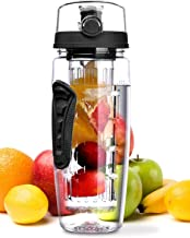 OMORC 32 OZ Sport Fruit Infuser Water Bottle, Flip Top Lid & Dual Anti-Slip Grips,..