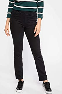 DeFacto Elastic Waist Straight Pants for Women - Black, 30