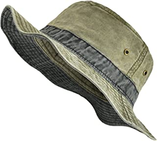 Men Washed Cotton Panama Bucket Hat Packable Summer Travel Fishing Boonie Cap