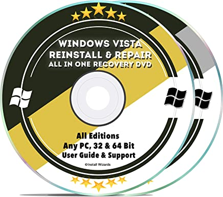 Windows Vista Recovery Installation Repair Disc - For Any PC Computer 32 & 64 Bit Dell HP All Brands w/ User Guide