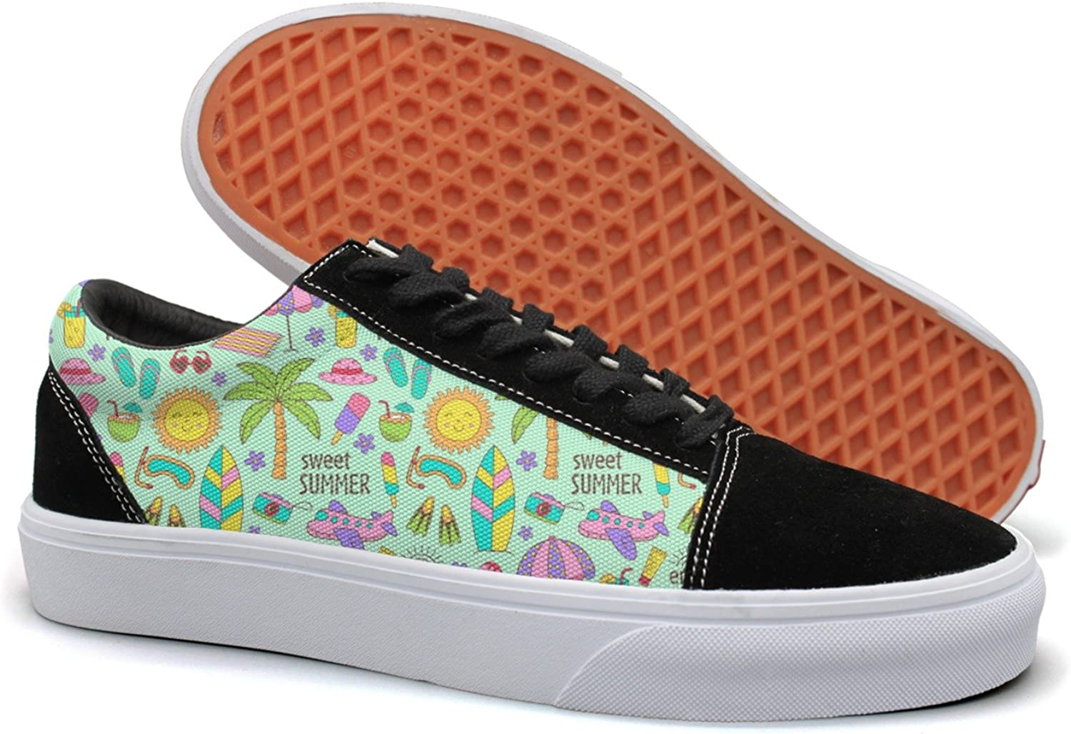 Feenfling Sweet Summer Go to The Beach Womens Casual Suede Canvas Running shoes Low Top Sneakers