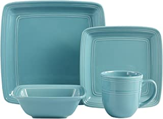 American Atelier 6524-16-RB Madelyn Square Turquoise 16 Piece Dinnerware Set,