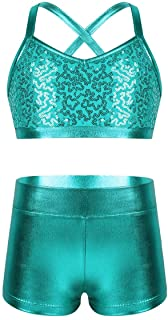 easyforever Kids Girls 2PCS Shiny Mermaid Scales Crop Top with Short Tankini Swimsuit Ballet Dance Outfit