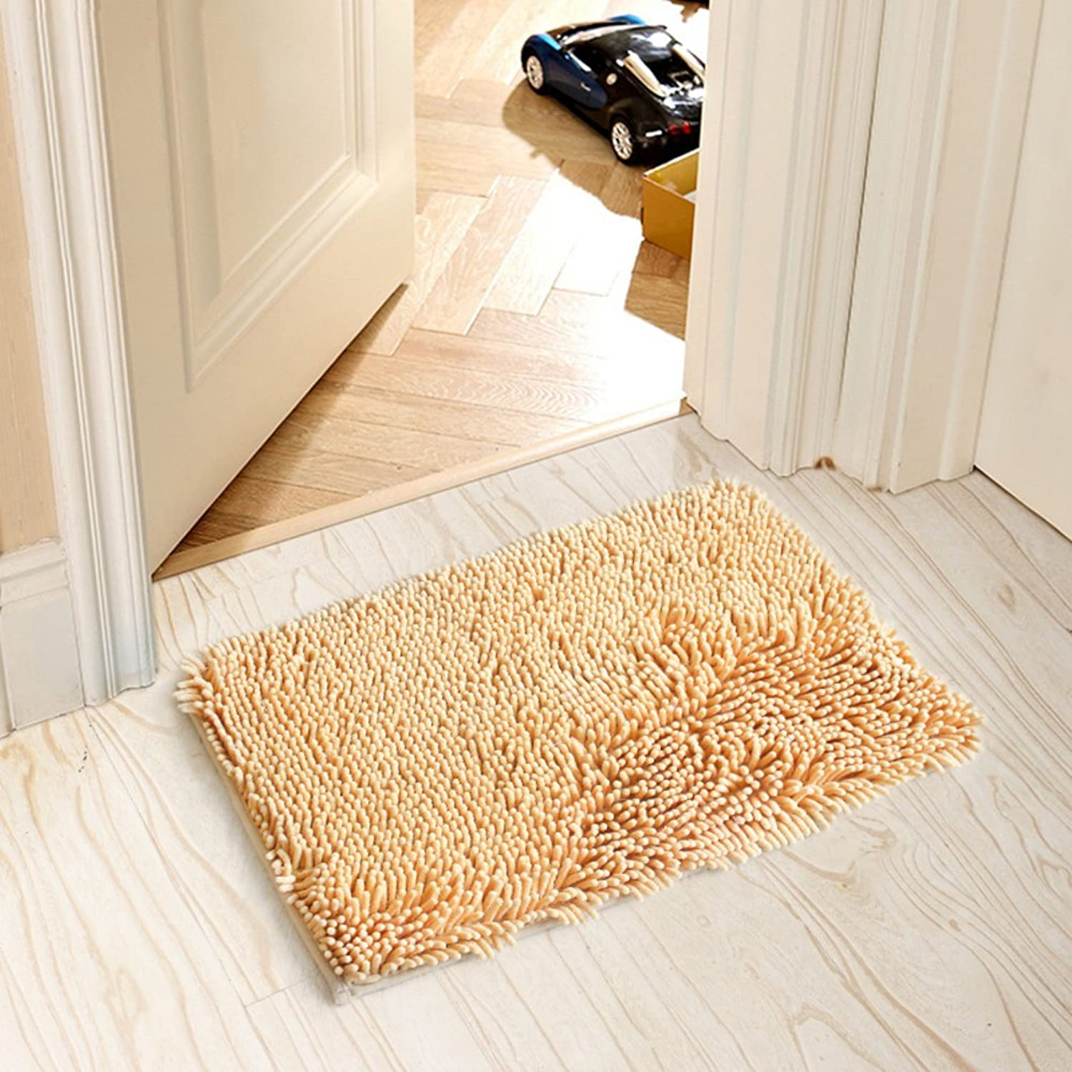 Doormat Chenille mat Indoor mats in The Hall Bedroom,The Door,Non-Slip mat [Bathroom],Kitchen,Water-Absorbing mats Door mats-K 70x200cm(28x79inch)