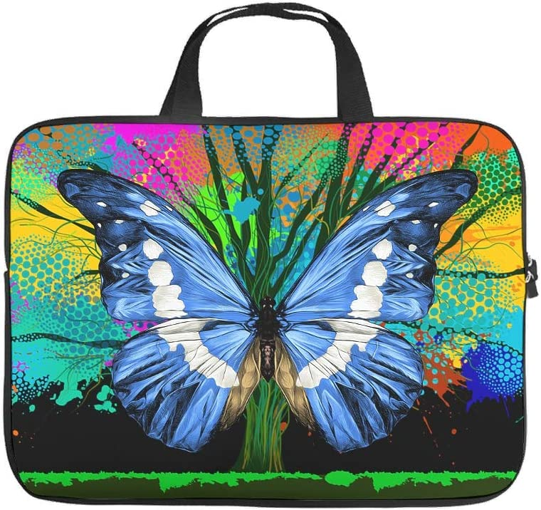 Funny Graffiti Blue Butterfly Animal Laptop Sleeve Businessmen Office Staff Double-Sided Printed Tablet Case Slim Neoprene Notebook Protective Bag White 13inch