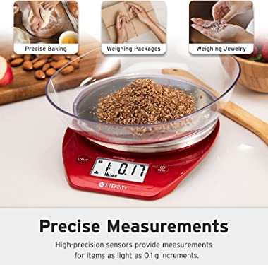 Etekcity 0.1g Food Kitchen Gram Scale Bowl, Gifts for Baking, Cooking, Meal Prep, Diet, Keto, and Weight Loss, 11lb, Red Stai