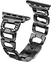 Secbolt Bling Band Compatible Apple Watch Band 42mm 44mm iWatch Series 4, Series 3, Series 2, Series 1, Diamond Rhinestone Stainless Steel Metal Wristband Strap, Black