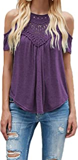 Women's Casual Summer Cute Short Sleeve Halter Lace Cold Shoulder Tops Shirts