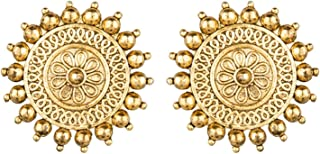 Archi Collection Party Wear Antique Boho Vintage Oxidised Gold Floral Big Stud Earrings Set for Women (Gold)