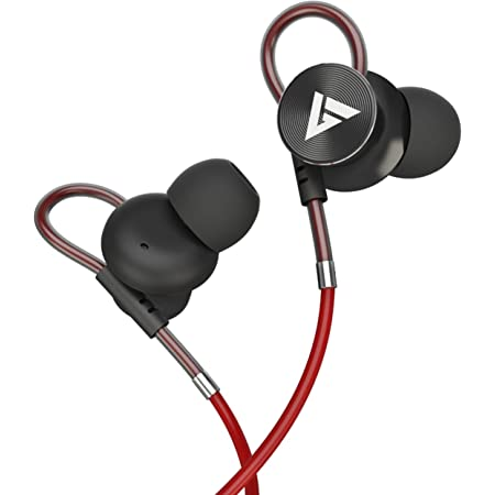 Boult Audio BassBuds Loop in-Ear Wired Earphones with 12mm Powerful Driver for Extra Bass with Customizable Ear Loop & Mic (Red)