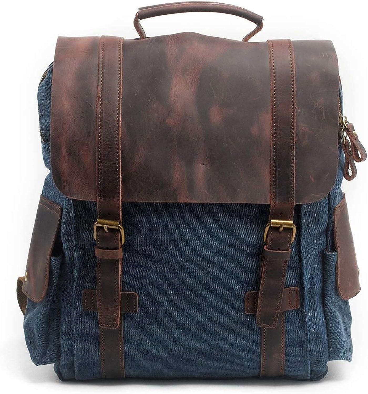 Cvthfyky Mnner Frauen Rucksack Daypack Wasserdichte Vintage Reiverschluss Leinwand 15 Zoll Laptop Student Outdoor Shopping (Farbe   Navy Blau)