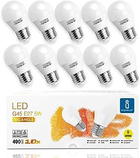 comprar comparacion Aigostar -10 x E27 Bombilla LED G45, Casquillo gordo 5W, Bajo consumo, 400lm, Luz calida 3000K, Ahorro de energía, no regu...