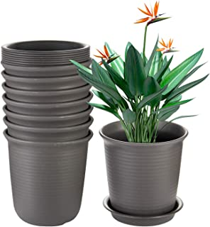 EHWINE 7.2 Inch Plastic Flower Pots 8 PCS, Indoor Plant Pots with Drainage and Tray, Brown Planters Fit with Flowers,Succu...