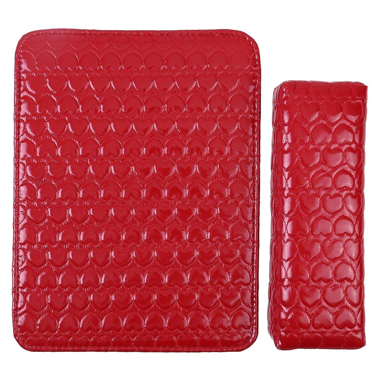 野球ストラトフォードオンエイボンアイドル2色 マニキュアツール ハンドレストピロー 皮革 耐久性(红色)