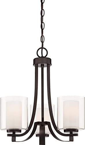 lowest Minka Lavery 4103-172 Parsons Studio outlet sale Glass with Shades Chandelier new arrival Lighting, 3 Light, 300 Watts, Smoked Iron outlet online sale